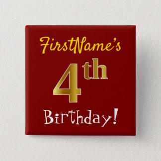 Chapa Cuadrada 4to cumpleaños del oro rojo, falso, con nombre de