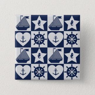 Chapa Cuadrada A cuadros blanco de los azules marinos náuticos
