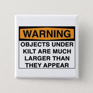 Chapa Cuadrada Advertencia - objetos grandes debajo de la falda