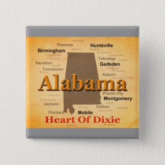 Chapa Cuadrada Alabama envejeció la silueta del mapa