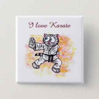 Chapa Cuadrada Alcohol de lucha del gatito del karate