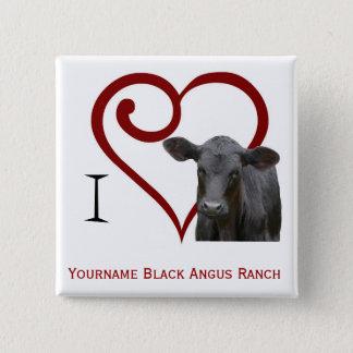 Chapa Cuadrada Amo la carne de vaca negra de Angus