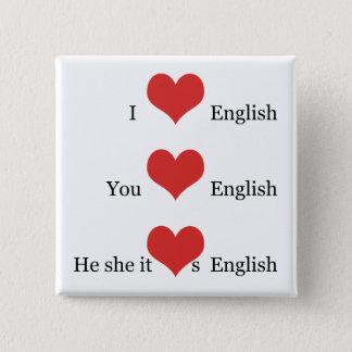 Chapa Cuadrada Amo la gramática inglesa del estudiante del