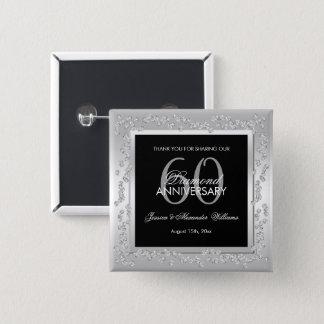 Chapa Cuadrada Aniversario de boda de plata elegante de los