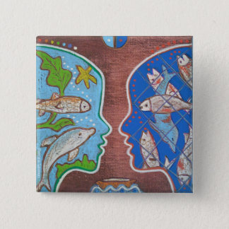 Chapa Cuadrada Badge vegan fish