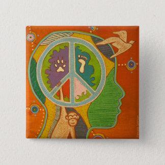 Chapa Cuadrada Badge vegan peace symbol