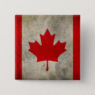 Chapa Cuadrada Bandera del Grunge del vintage de Canadá