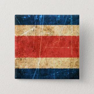 Chapa Cuadrada Bandera rasguñada y llevada de Costa Rica del
