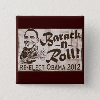 Chapa Cuadrada Barack y engranaje de Obama 2012 del rollo
