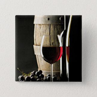 Chapa Cuadrada Barril de vino, uvas, y vidrio
