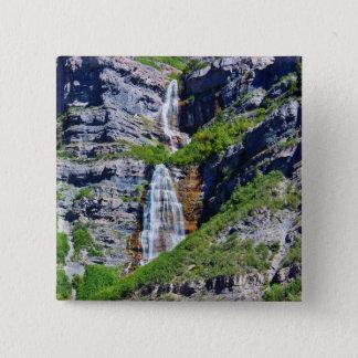 Chapa Cuadrada Botón/Pin de la cascada #1a- de Utah - por la