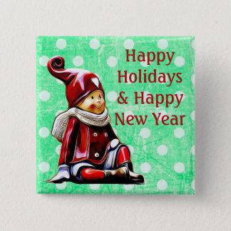 Chapa Cuadrada Buenas fiestas navidad verde Butto del lunar del