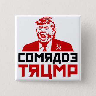 "Chapa Cuadrada CAMARADA TRUMP "" del botón"" del Anti-Triunfo """