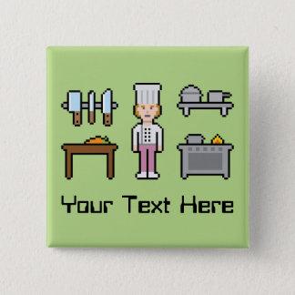 Chapa Cuadrada Cocinero de encargo de la hembra del pixel