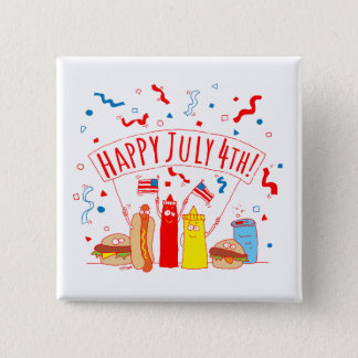 Chapa Cuadrada Comida campestre feliz del 4 de julio