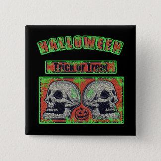 Chapa Cuadrada Cráneos de Halloween - verde llevado del truco o