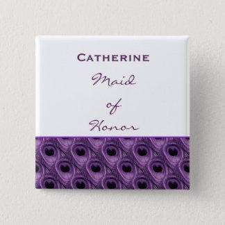 Chapa Cuadrada Criada del nombre púrpura del personalizado del