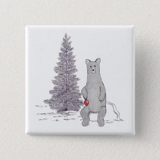 """Chapa Cuadrada Cuadrado lindo """"Tis del Pin del oso del día de"""