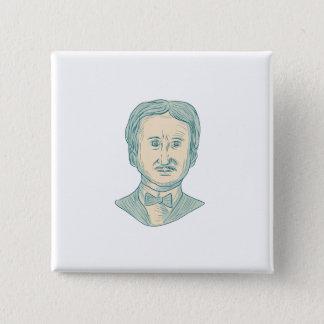 Chapa Cuadrada Dibujo del escritor de Edgar Allan Poe