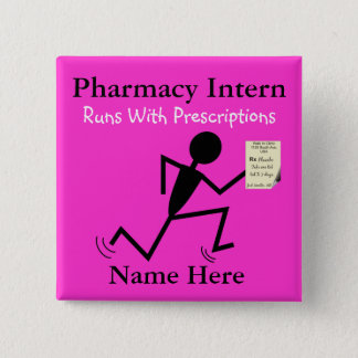 Chapa Cuadrada El nombre del interno de la farmacia fija rosa de
