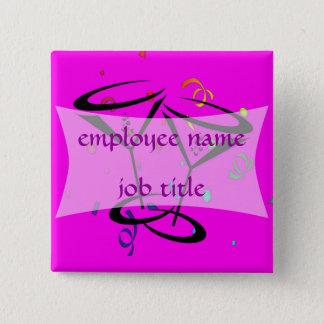 Chapa Cuadrada Etiqueta del nombre del empleado de los vidrios de