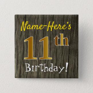 Chapa Cuadrada Falsa madera, 11mo cumpleaños del falso oro +