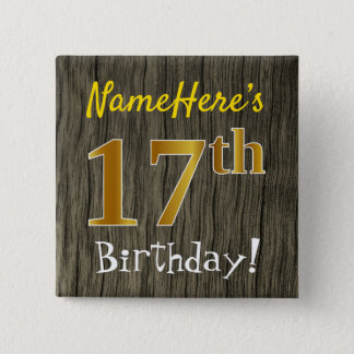 Chapa Cuadrada Falsa madera, 17mo cumpleaños del falso oro +