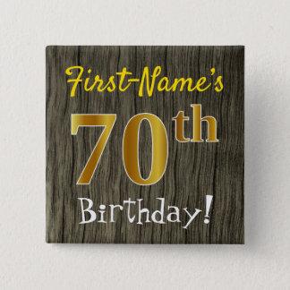 Chapa Cuadrada Falsa madera, 70.o cumpleaños del falso oro +