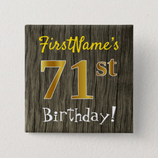 Chapa Cuadrada Falsa madera, 71.o cumpleaños del falso oro +