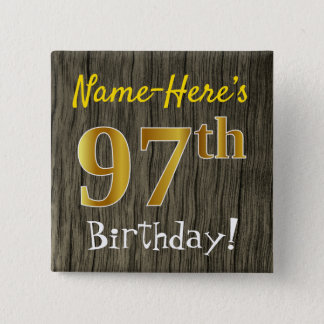 Chapa Cuadrada Falsa madera, 97.o cumpleaños del falso oro +