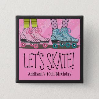 Chapa Cuadrada Favor de la fiesta de cumpleaños del patinaje