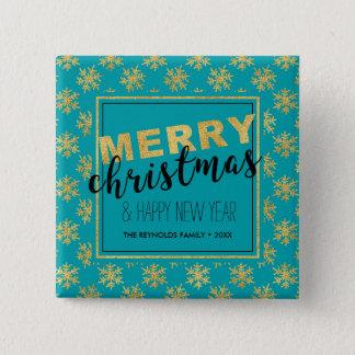Chapa Cuadrada Felices Navidad azules del oro elegante moderno -