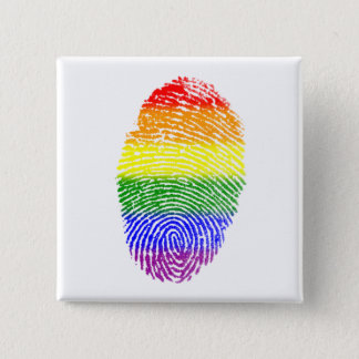 Chapa Cuadrada Huella dactilar del arco iris del orgullo gay