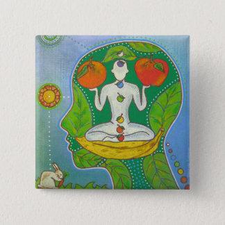 Chapa Cuadrada Insignia vegan yoga frutas