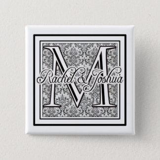 Chapa Cuadrada Logotipo de encargo del boda del damasco