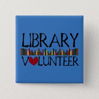 Chapa Cuadrada Los libros voluntarios de la biblioteca - cambie