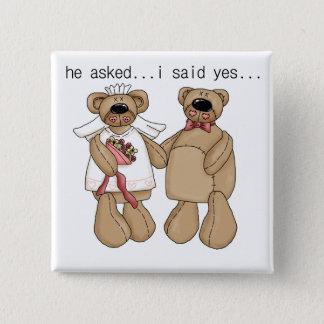 Chapa Cuadrada Los osos dije sí las camisetas y los regalos