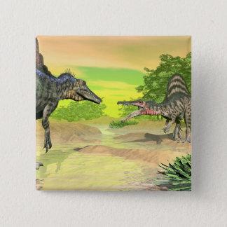 Chapa Cuadrada Lucha de los dinosaurios de Spinosaurus - 3D