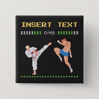 Chapa Cuadrada Lucha de videojuego de encargo del pixel