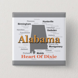 Chapa Cuadrada Mapa del orgullo de Alabama