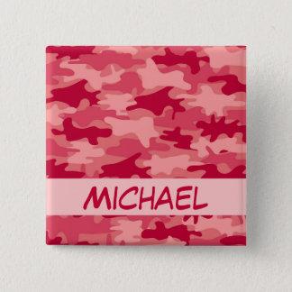Chapa Cuadrada Nombre rojo del camuflaje de Camo personalizado