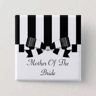 Chapa Cuadrada Obra clásica rayada negra y blanca del boda