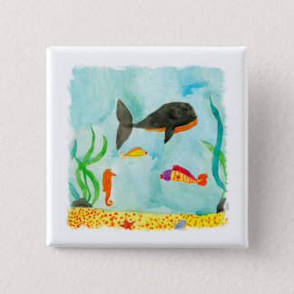Chapa Cuadrada Opinión del mar de la acuarela con la ballena y el