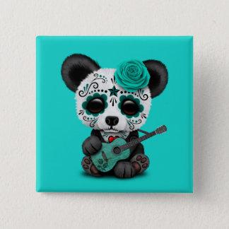 Chapa Cuadrada Panda azul del cráneo del azúcar que toca la