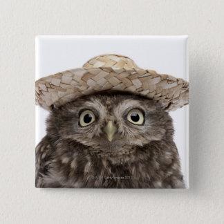 Chapa Cuadrada Pequeño búho que lleva un gorra de paja - noctua