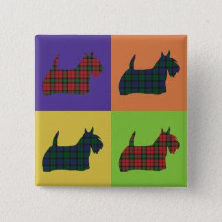 Chapa Cuadrada Perro del escocés - estilo del arte pop del tartán