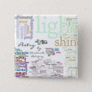 Chapa Cuadrada Pin de Wordle del mosaico de la poesía