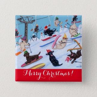 Chapa Cuadrada Pintura de esquí de Labradors de la diversión del