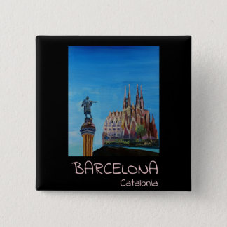 Chapa Cuadrada Poster retro Barcelona