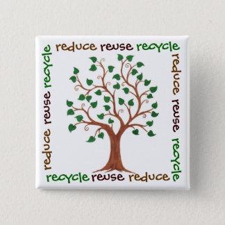 Chapa Cuadrada Reduzca, reutilice, recicle - el Pin del
